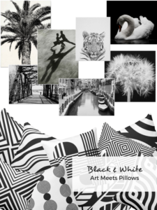 Black and white photo prints and pillows