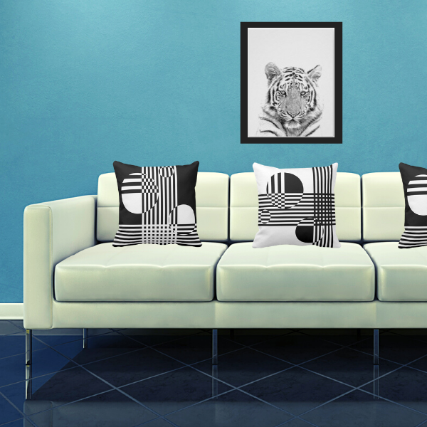 Tiger photo print wall decor and pillows with circles and stripes
