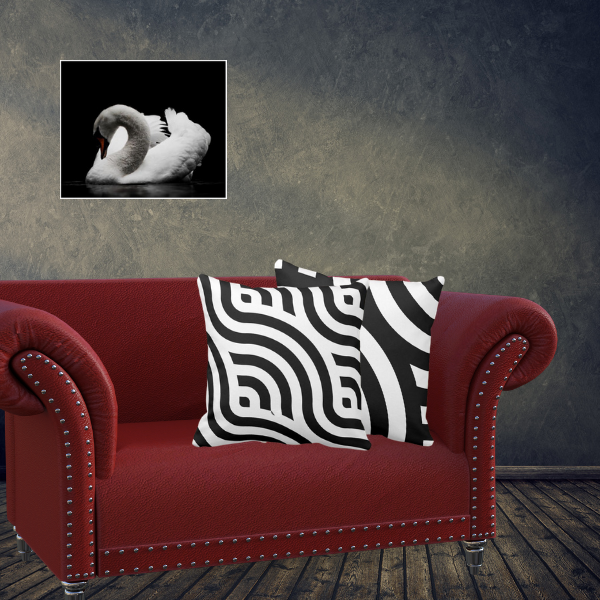 White swan wall decor and decorative pillows with wave pattern