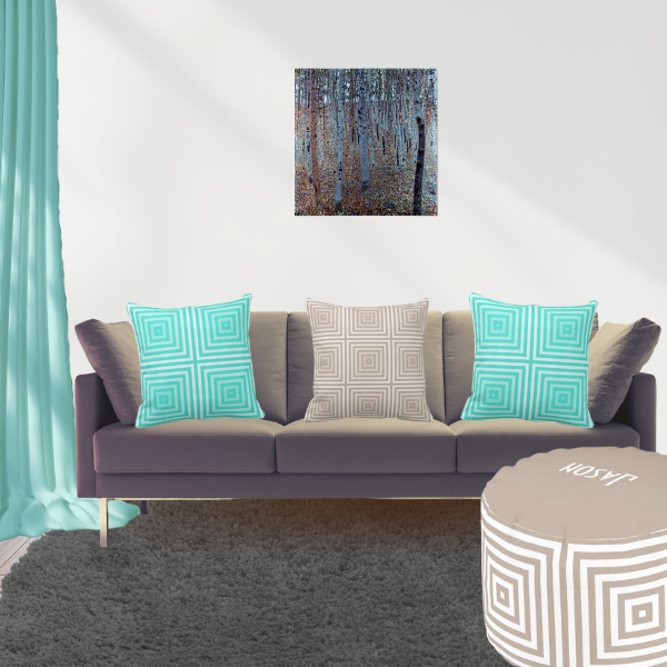 Beech Forest by Gustav Klimt And Turquoise and Brown Pillows WithBox Pattern