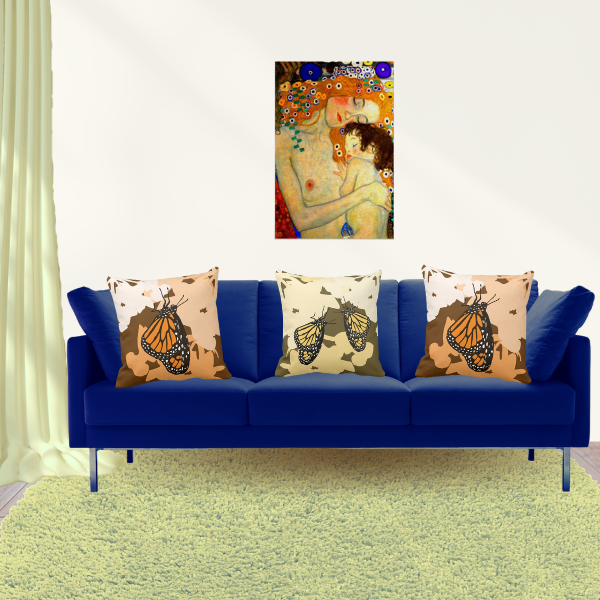 Mother And Child By Gustav Klimt And Pillows In Yellow And Orange With Monarch Butterfly Pattern