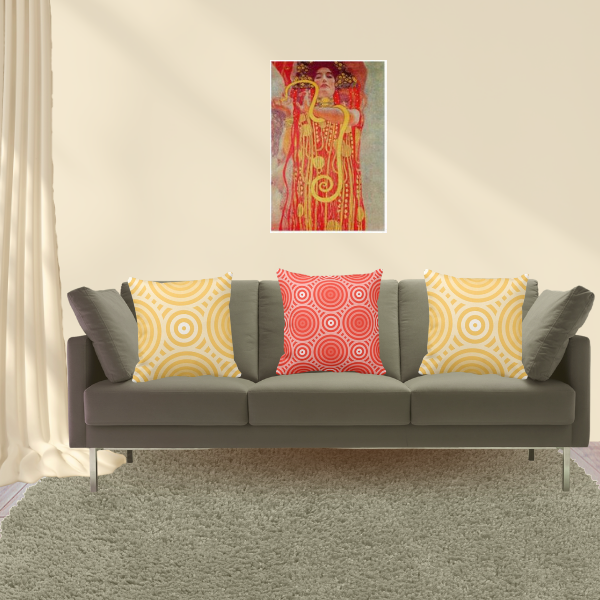 Red Woman By Gustav Klimt Art Meets Pillows In Yellow And Red With Nested Circle Pattern