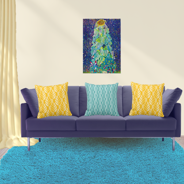 The Sunflower By Gustav Klimt Meets Pillows In Yellow And Turquoise With Leaves Pattern
