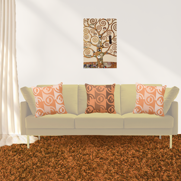 The Tree Of Life By Gustav Klimt Meets Pillows In Orange With Fragmented Circles Pattern