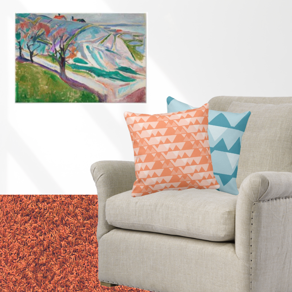 Landscape Of Kragero Log by Edvard Munch art print meets pillows with jagged pattern in orange and blue