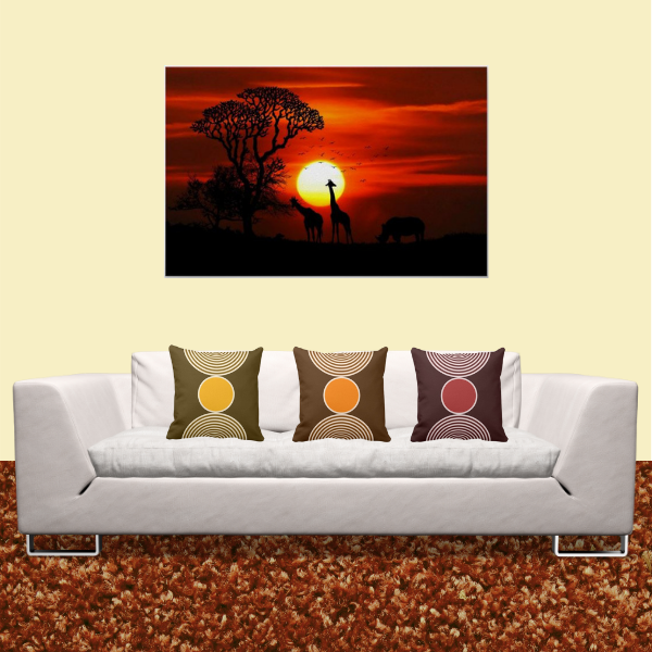 Giraffes At Sunset Print And Yellow, Orange, And Red Pillows With Beads Pattern