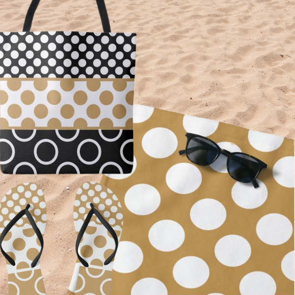 Brown And White Polka Dot Pattern, Beach Bag Accessories