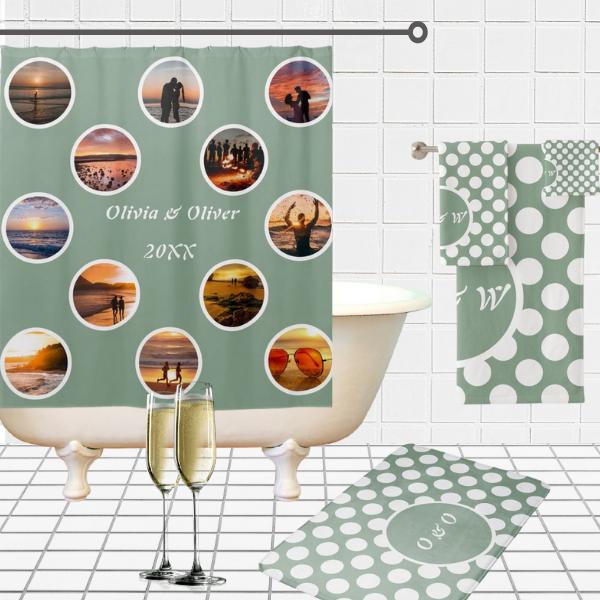 Twelve Customizable Photo Dots Pattern, Bathroom Anniversary Ideas