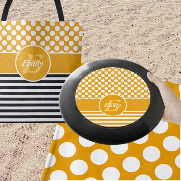 Yellow And White Circles Pattern, Beach Bag Accessory