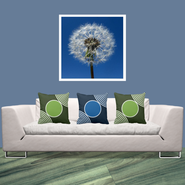 Dandelion Wall Decor And Blue Green Pillows With Circle Pattern