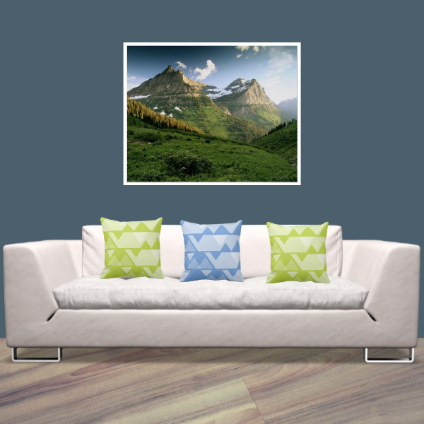 Glacier National Park With Jagged Patterned Pillows