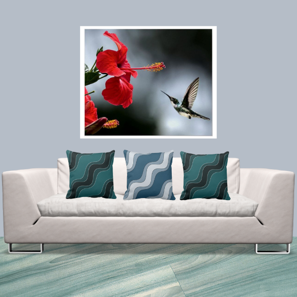 Hummingbird and Red Flower And Ripple Patterned Pillows