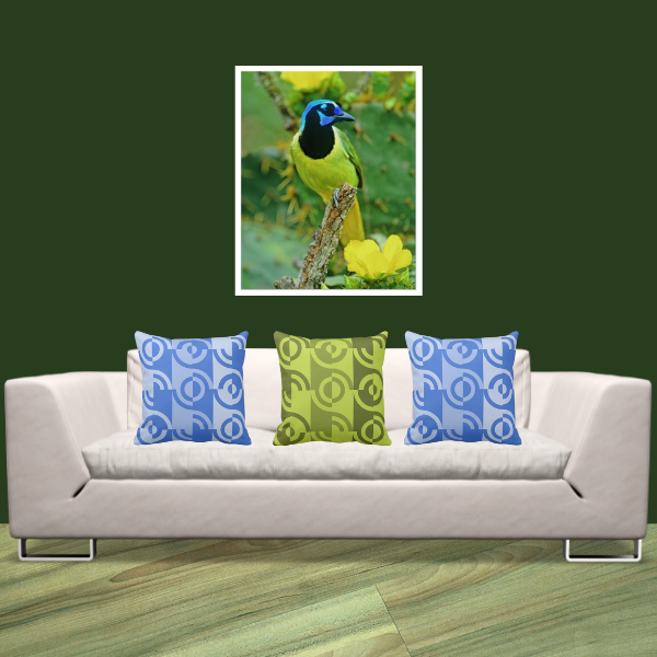 Mc Allen Bird Print And Blue And Green Fragmented Circle Patterned Pillows