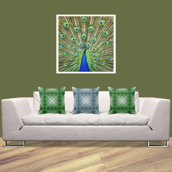 Peacock Photography Print And Pillows With Pixel Pattern