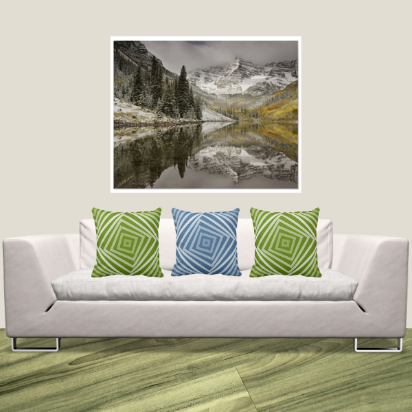 White River National Forest Colorado Print And Green And Blue Spiral Patterned Pillows