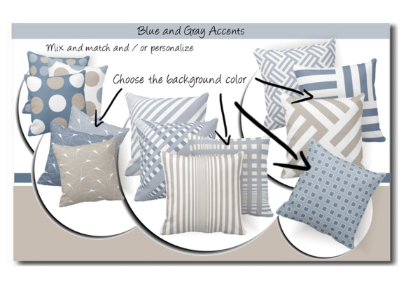 blue and gray colored stylish throw pillows