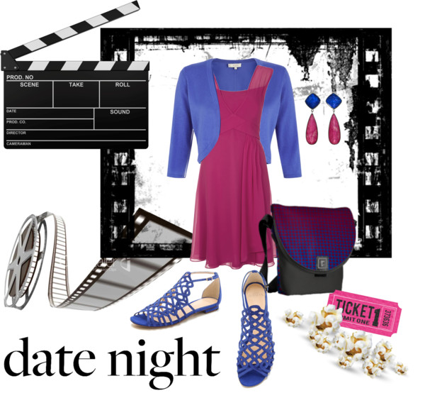 stylish date night outfit in cobalt blue and burgundy red
