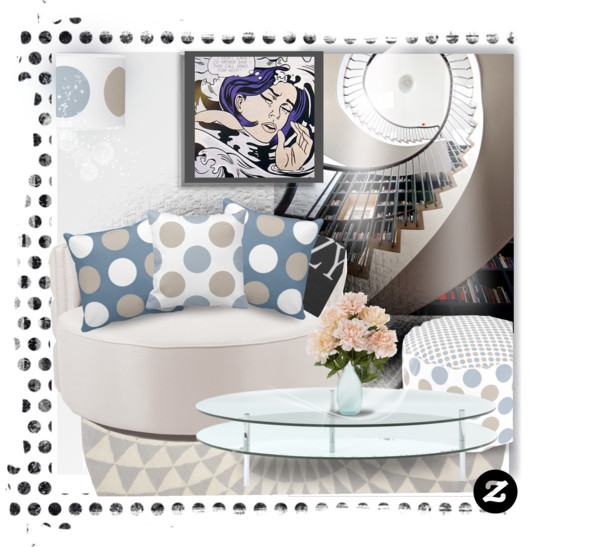 Throw Pillows in Blue and Gray Polka Dots Design