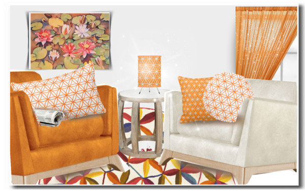 Orange Lotus Flower Design by fallforit on Polyvore.com