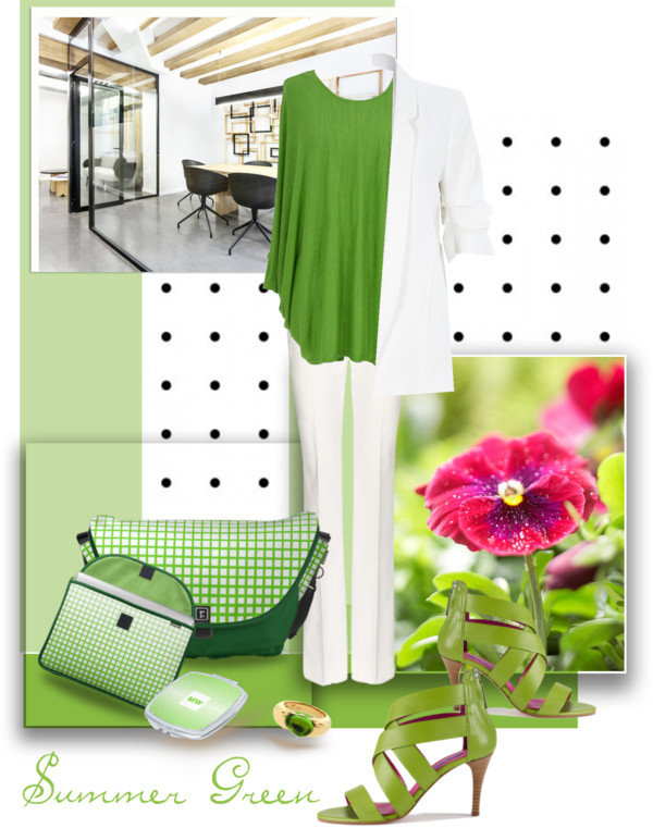 Office Outfit in White and Summer Green